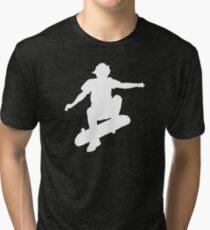 Skater Large - White Tri-blend T-Shirt