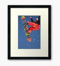 Snowboard jumping on Vogel mountain Framed Print