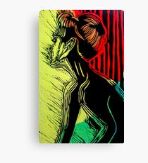Behind the Curtain (Woodcut Chine Colle) Canvas Print