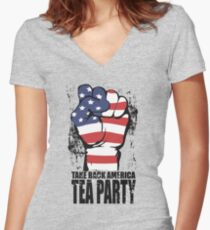 Take Back America Tea Party Shirt Women's Fitted V-Neck T-Shirt