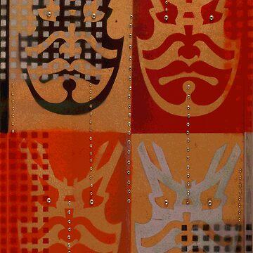 Japanese Kabuki Warrior Mask Matrix graffiti stencil by rolandhill90