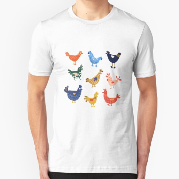 Cute and Colorful Chickens Stickers Slim Fit T-Shirt