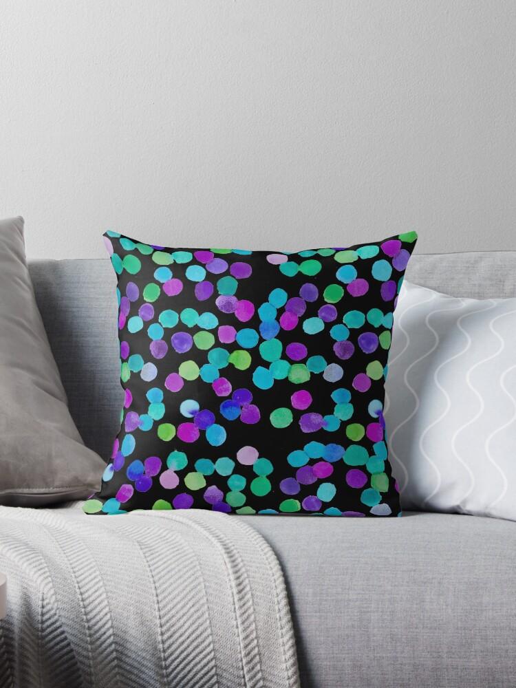 Watercolour Blue Purple Dots - Black by Jenna Mhairi