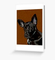 I Hear Ya! Portrait of a Little Black Dog. Greeting Card