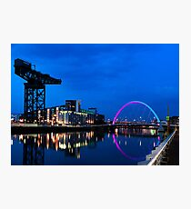 Night Reflections - Glasgow Titan and Squinty Bridge. Photographic Print