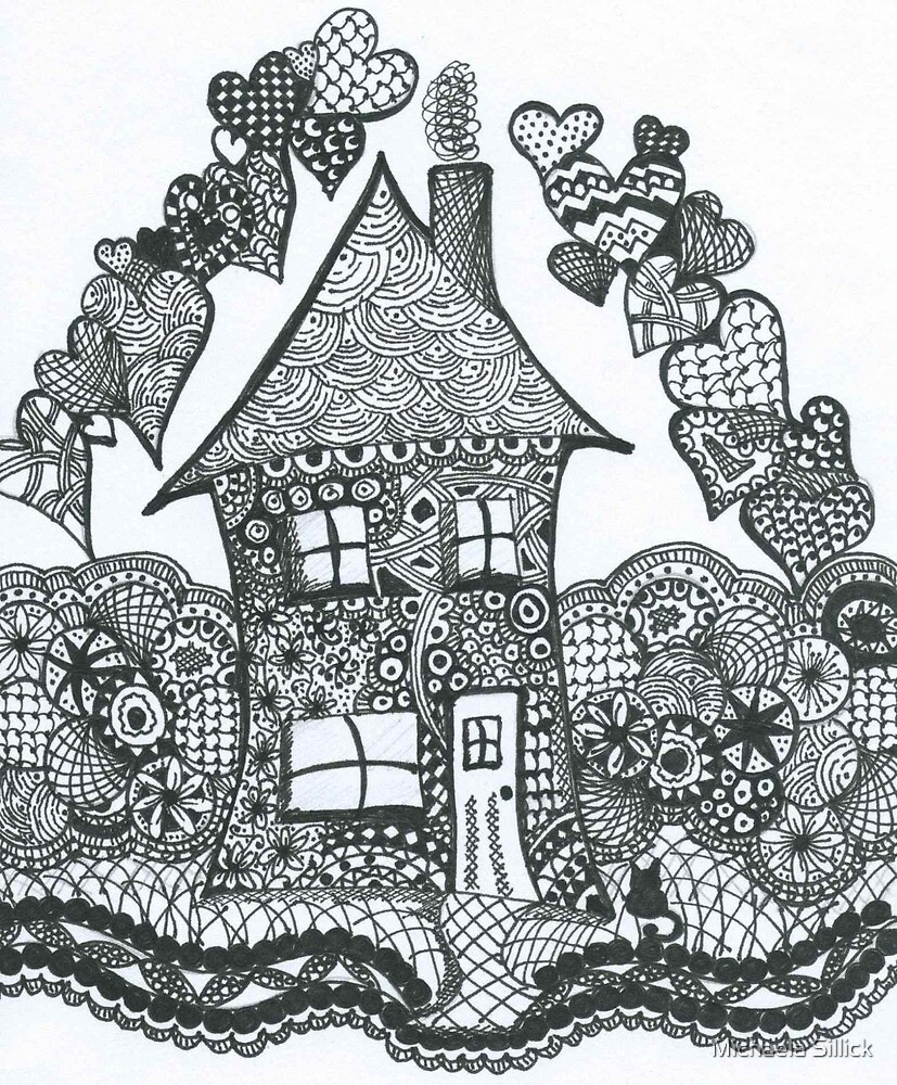 Throw Pillow Home Is Where The Doodle Is :