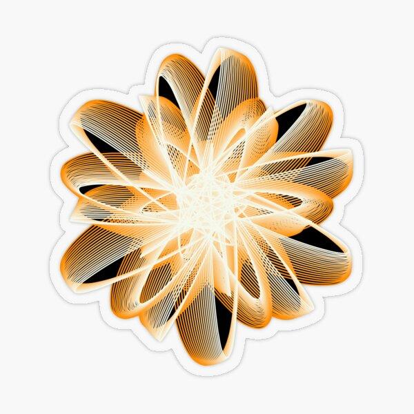 Abstract Flower in Orange Black White Transparent Sticker