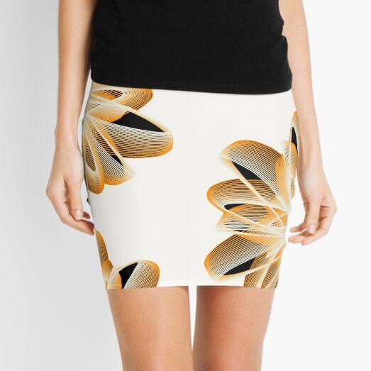 Abstract Flower in Orange Black White Mini Skirt