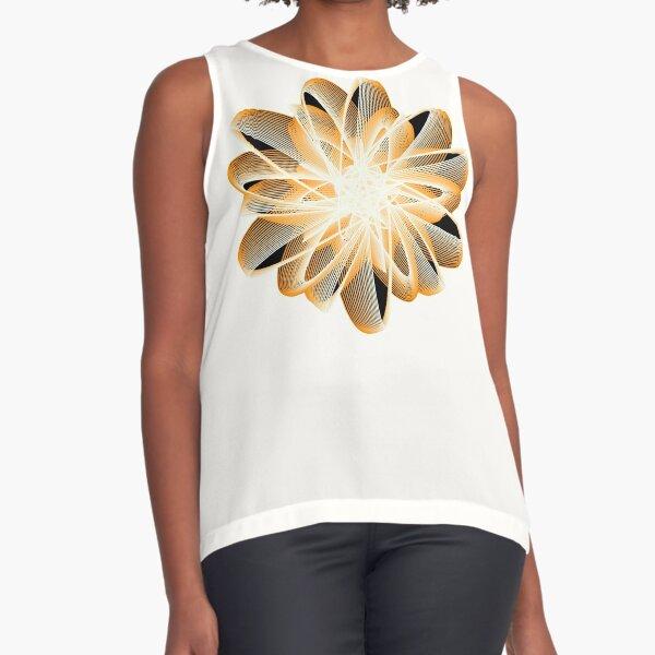 Abstract Flower in Orange Black White Sleeveless Top