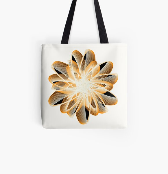 Abstract Flower in Orange Black White All Over Print Tote Bag
