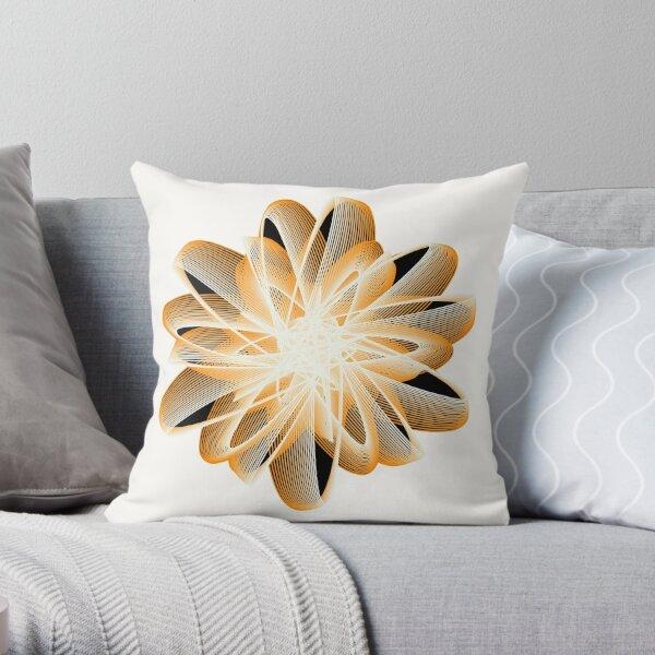 Abstract Flower in Orange Black White Throw Pillow
