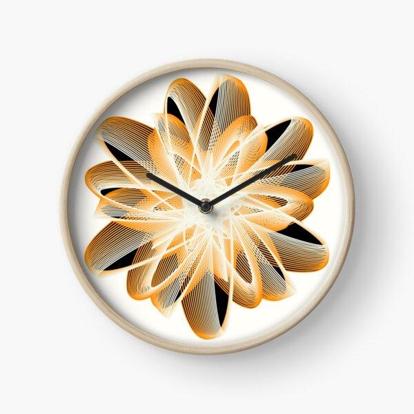 Abstract Flower in Orange Black White Clock