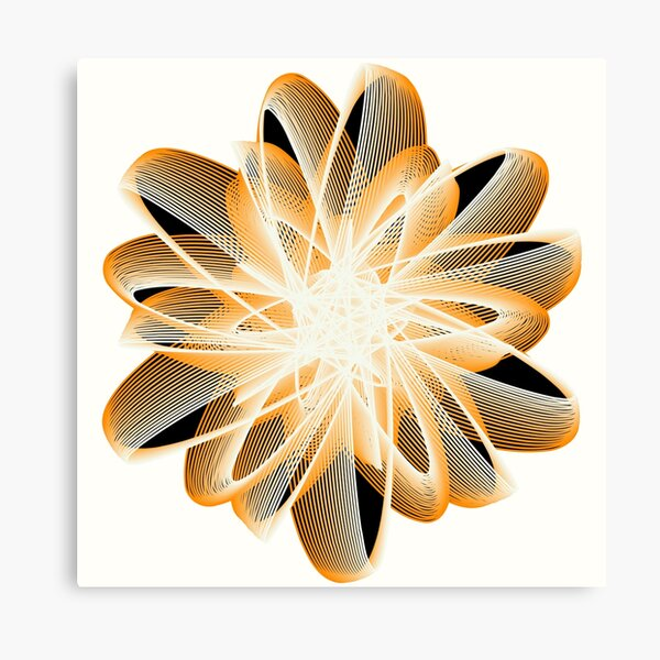 Abstract Flower in Orange Black White Canvas Print