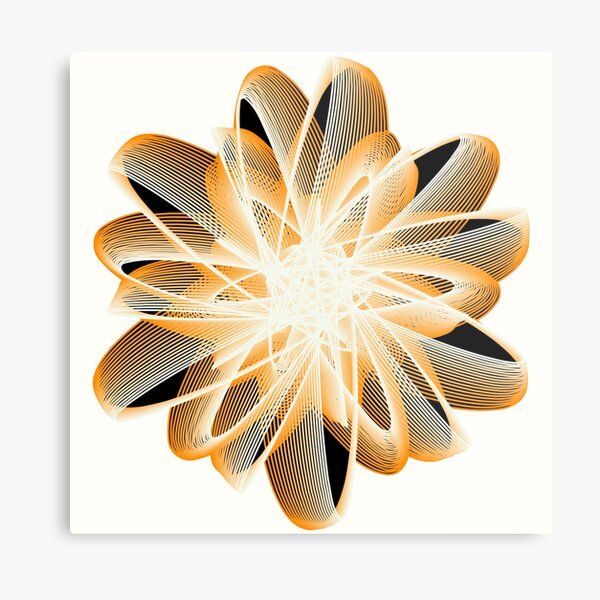 Abstract Flower in Orange Black White Metal Print