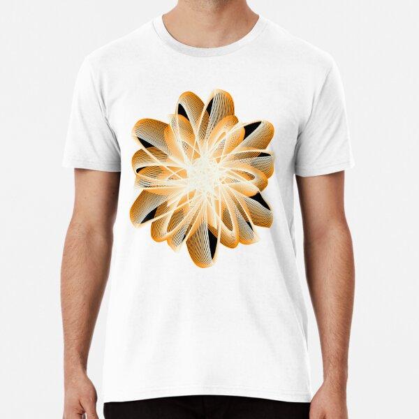 Abstract Flower in Orange Black White Premium T-Shirt