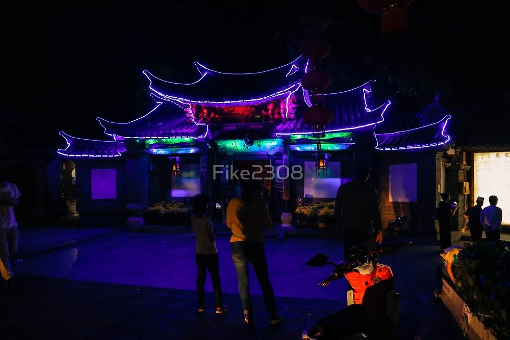 Neon Lit Chinese Gate by Fike2308