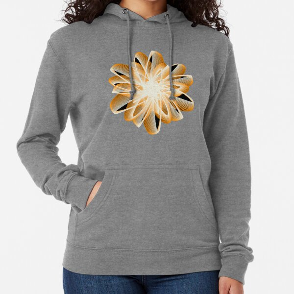 Abstract Flower in Orange Black White Lightweight Hoodie