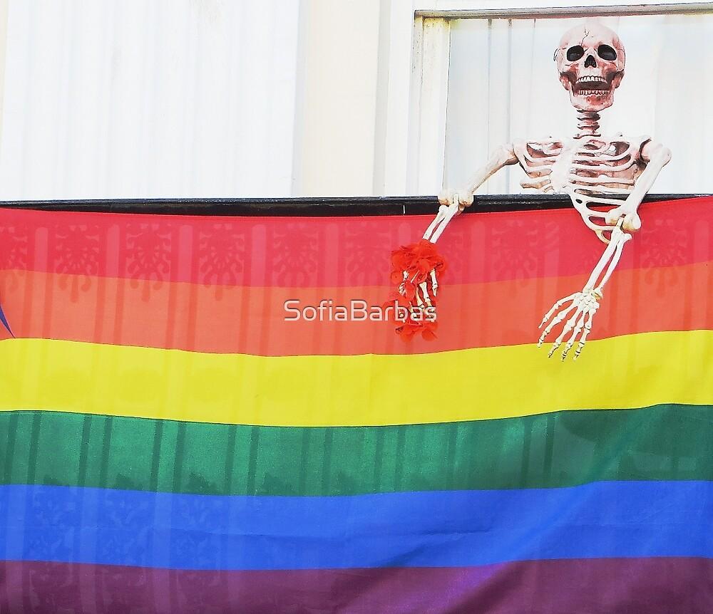 Skeleton with Rainbow Flag by SofiaBarbas