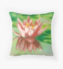 Peaches And Cream Waterlily Throw Pillow