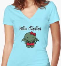 Hello Cthulhu! Women's Fitted V-Neck T-Shirt