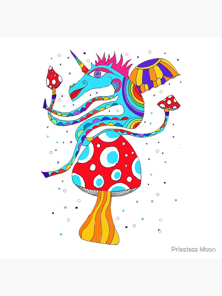 Psychedelic Unicorn Throw Cushion in White  by priestess