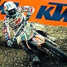 Motocrosser in a turn by Maxim Mayorov