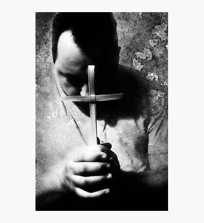 Bowing Before The Cross Photographic Print