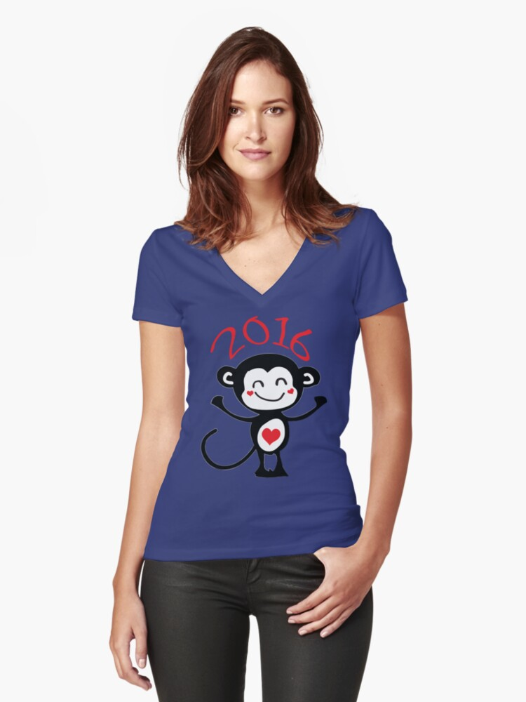 2016 Year of animal Monkey Women's Fitted V-Neck T-Shirt Front
