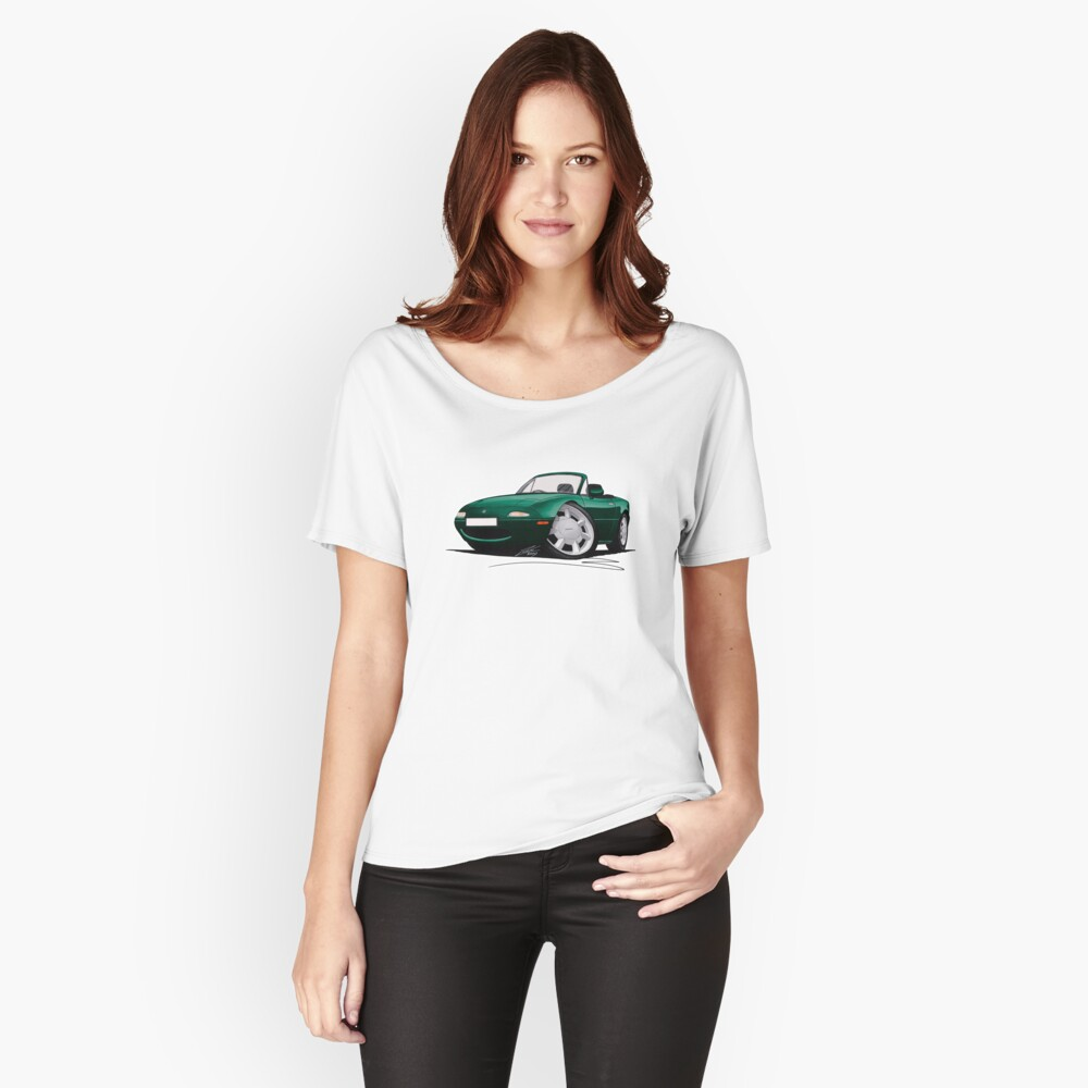 Mazda MX5 (Mk1) British Racing Green Women's Relaxed Fit T-Shirt Front