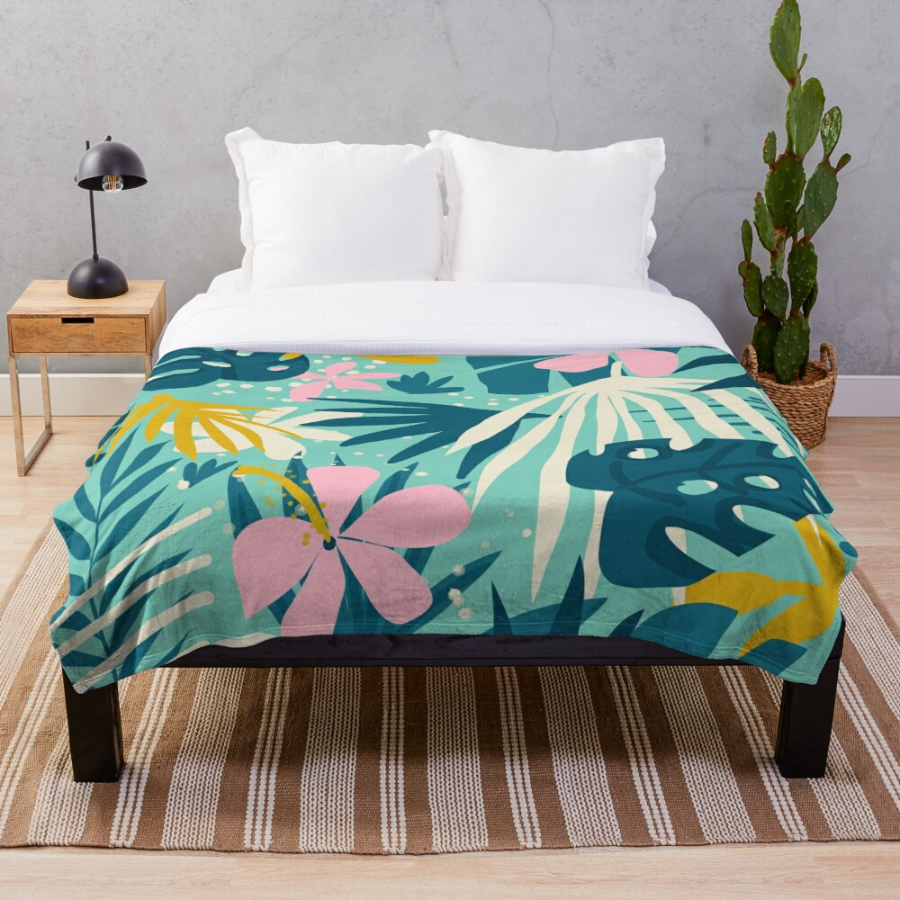 Not All Those Who Wander Are Lost #painting #tropical Throw Blanket