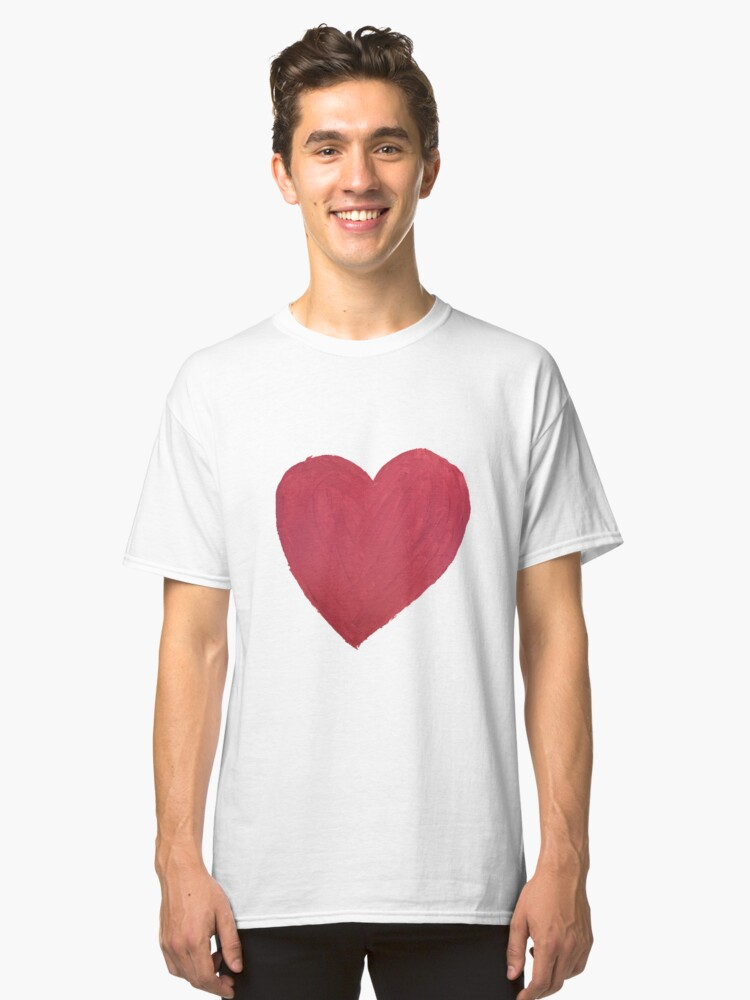 Alternate view of Hand Painted Red Valentine's Day Heart Classic T-Shirt