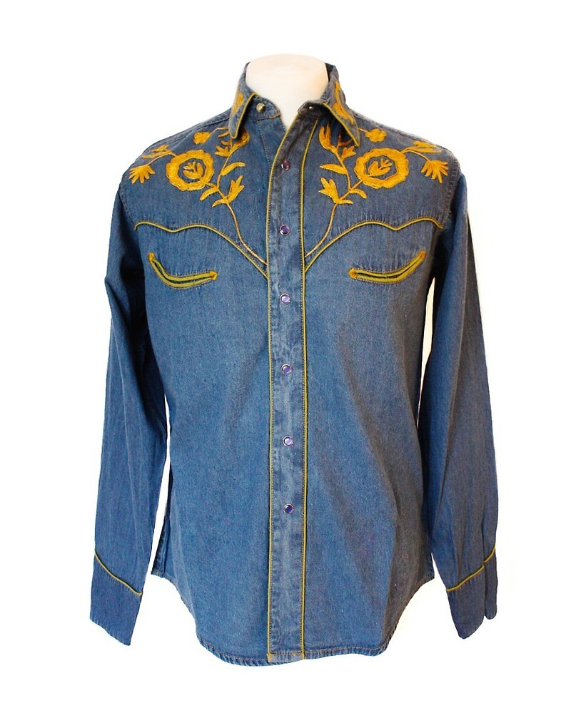 Rockmount Denim Western Cowboy Shirt with Golden Embroidery by broncobills