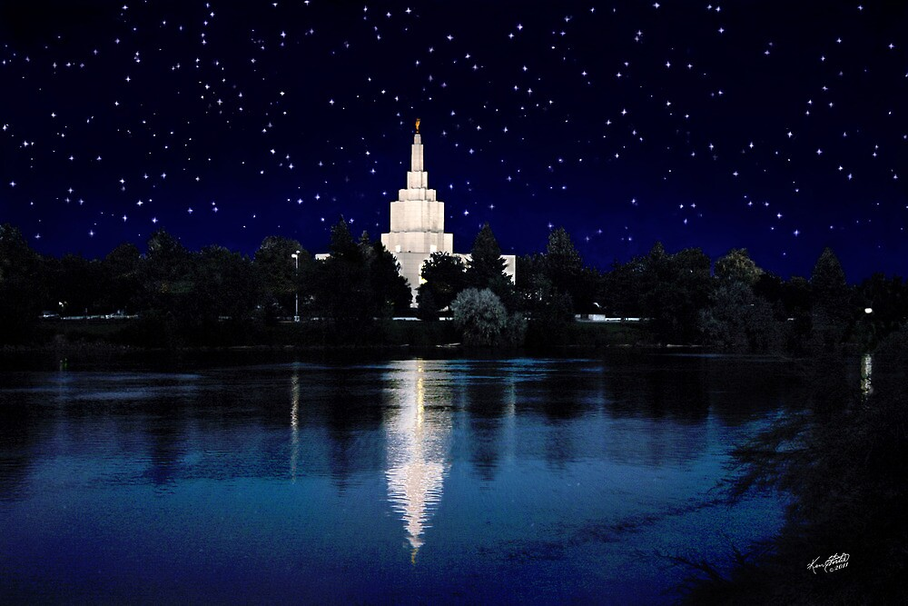 Starry Night Idaho Falls Temple 20x30 by Ken Fortie