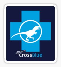 Don't Cross Blue | Jurassic Raptor Sticker