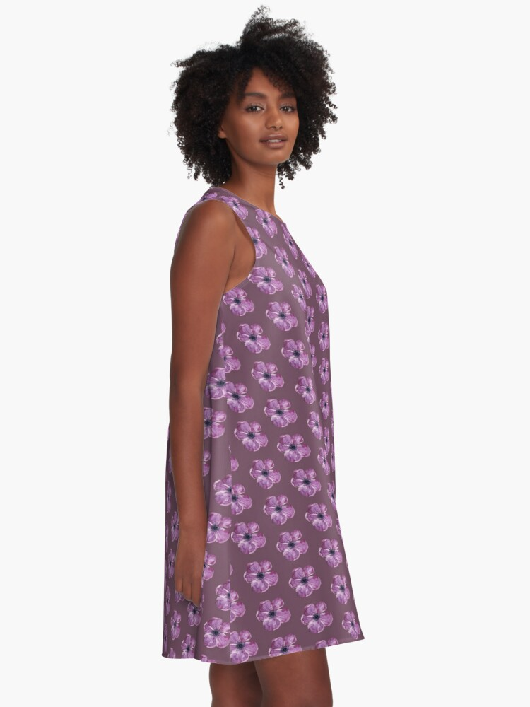Alternate view of Purple floral A-Line Dress