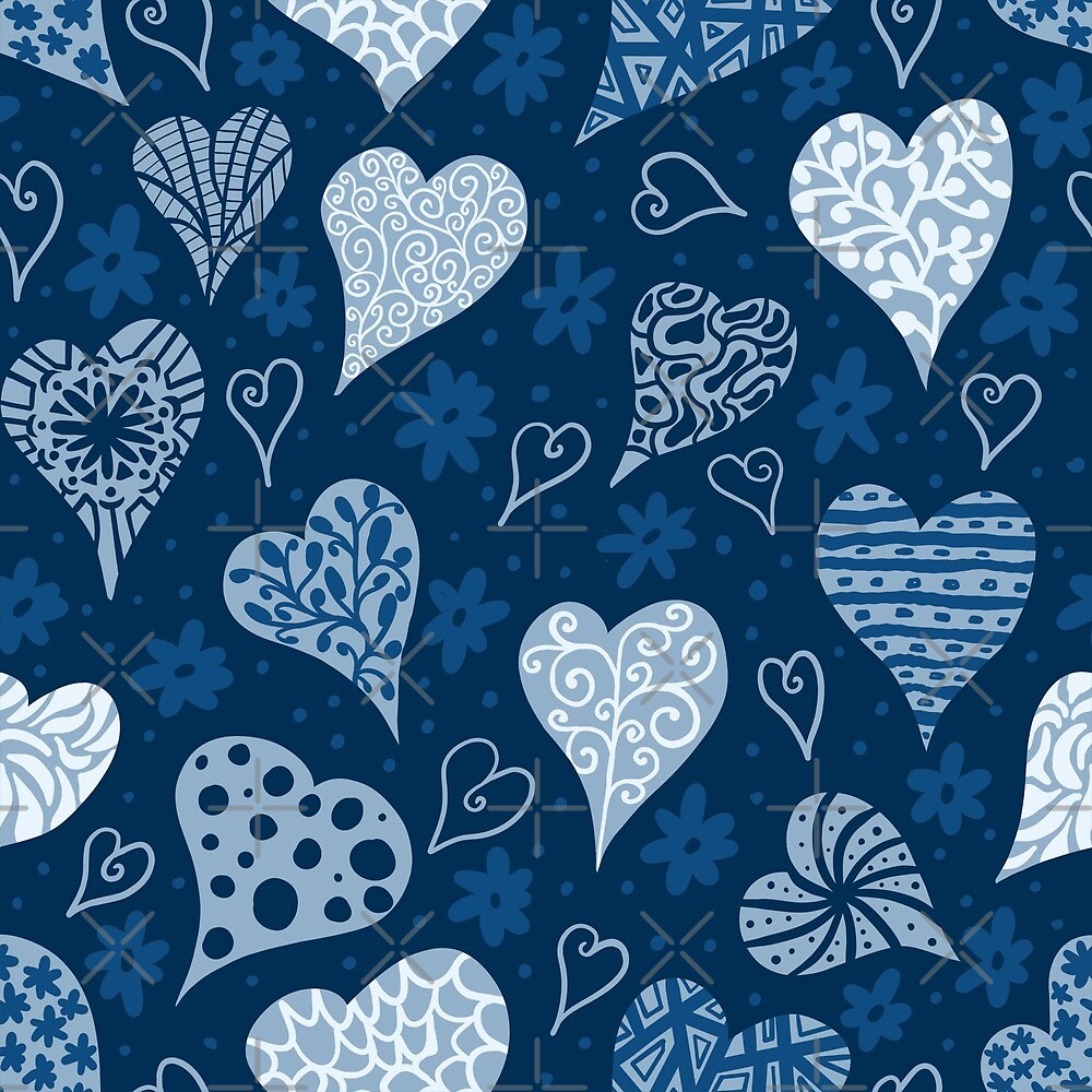 Valentine Boho Blue Hearts by creativinchi