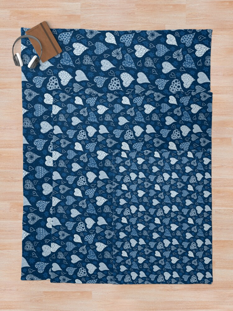 Alternate view of Valentine Boho Blue Hearts Throw Blanket