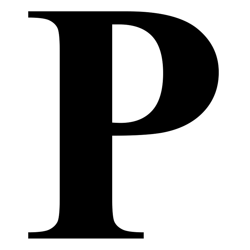 The Letter P in Black Times New Roman Serif Font Typeface