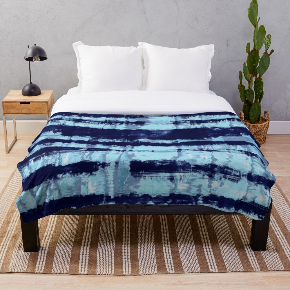Tie-Dye Shibori Stripe Blues Throw Blanket