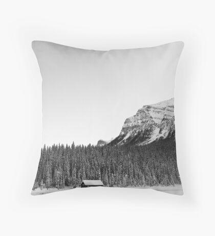 Snowy Trees Surround the Lake Throw Pillow
