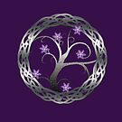 Silver Celt Tree with Purple Blossoming Flowers by anankeblue