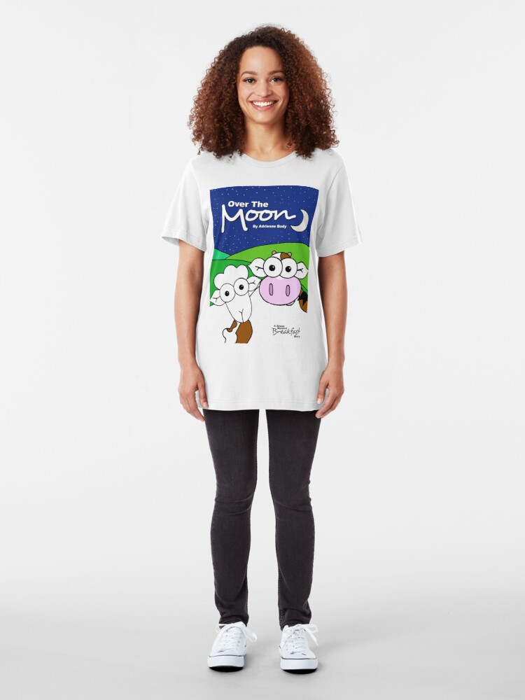 Alternate view of Cover Art - Over The Moon: A Sheep Named Breakfast Story Slim Fit T-Shirt