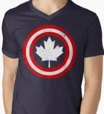Captain Canada (White Leaf) Men's V-Neck T-Shirt
