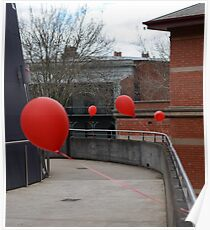 Red balloons showing the way Poster