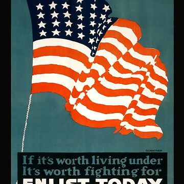 Patriotic Recruiting War Poster ~ ENLIST TODAY ~ Army Navy Air Force Coast Guard ~ 0597  by ContrastStudios