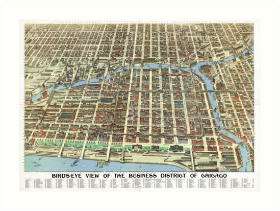 1898 Map of Chicago Business District by Mingjai