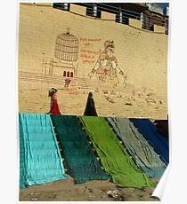 Drying Saris on Varanasi Ghats Poster