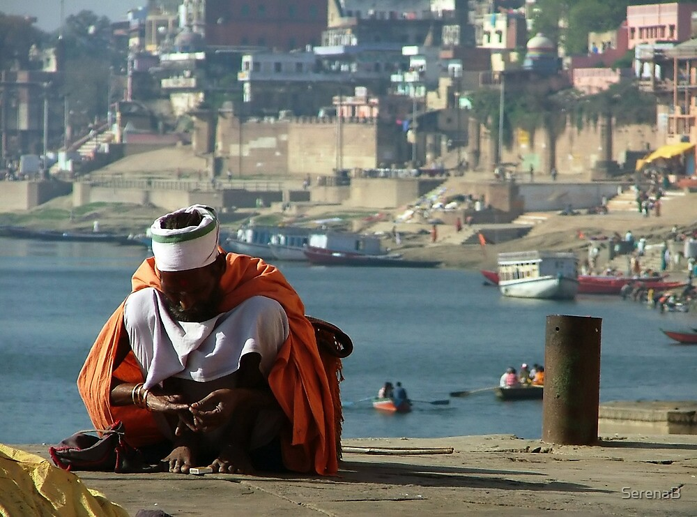 Saddhu Sits by the Ganges by SerenaB