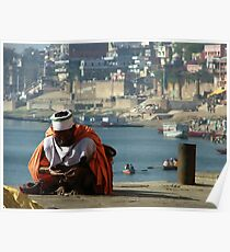 Saddhu Sits by the Ganges Poster