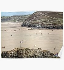 Cornish  Flag On The Beach At Perranporth Poster